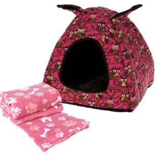 Toquinha Pet + Manta Para Cães e Gatos - Rosa