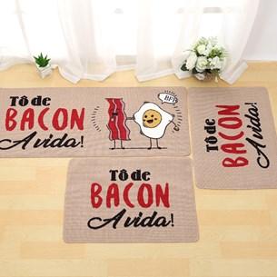 1 Tapete Passadeira 40Cm X 1,20M De Cozinha Antiderrapante Colori Bacon - Bene Casa