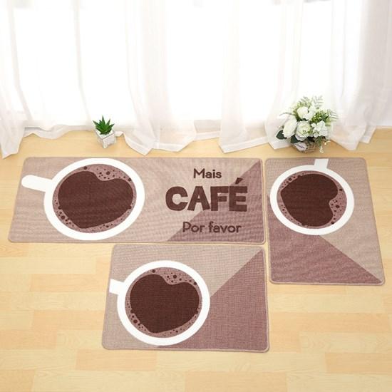 1 Tapete Passadeira 40Cm X 1,20M De Cozinha Antiderrapante Colori Mais Café - Bene Casa