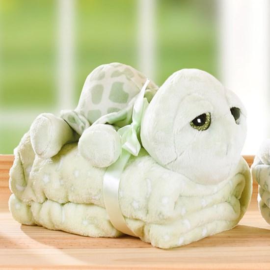 Bichinho Com Manta 26Cm Super Macio Ideal Pra Dar Presente  Tartaruga - Bene Casa