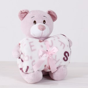 Bichinho Com Manta   Extra Macio Ideal Para Presentear Urso Carinhoso - Bene Casa