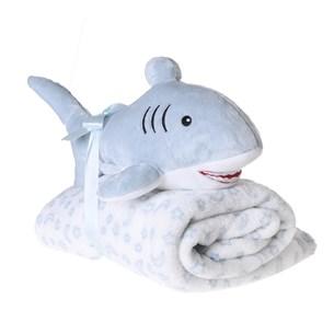 Bichinho Com Manta   Super Macio Ideal Pra Dar Presente  Tubarão - Bene Casa