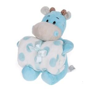 Bichinho De 26Cm  + Manta De Microfibra Estampada Hipopotamo Azul - Bene Casa