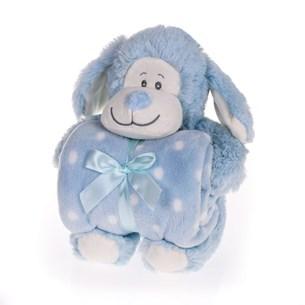 Bichinho De 26Cm  + Manta De Microfibra Estampada Macaco Azul - Bene Casa