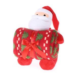 Bichinho De 26Cm  + Manta De Microfibra Estampada Papai-Noel - Bene Casa