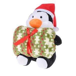Bichinho De 26Cm  + Manta De Microfibra Estampada Pinguim - Bene Casa