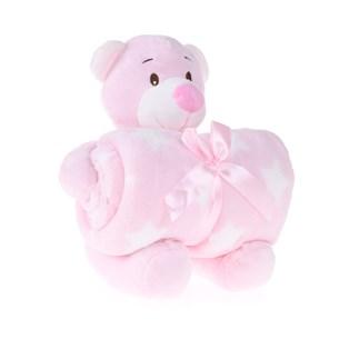 Bichinho De 26Cm  + Manta De Microfibra Estampada Urso Rosa - Bene Casa
