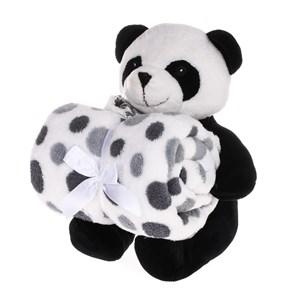 Bichinho De Pelúcia + Manta De Microfibra Estampada - Floresta Panda - Bene Casa