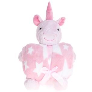 Bichinho De Pelúcia  + Manta De Microfibra Estampada Unicornio Rosa - Bene Casa