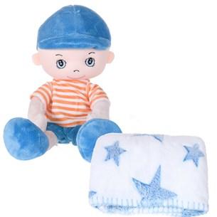 Bichinho + Manta Bebê 1,00M X 75Cm Ideal Para Chá De Bebê Azul - Bene Casa