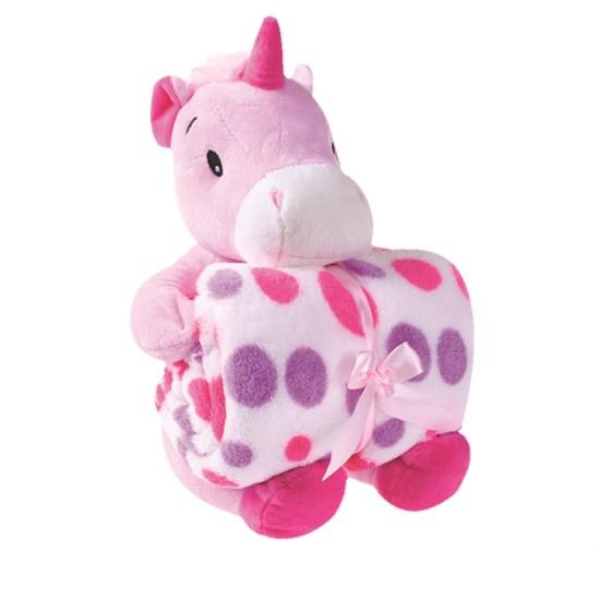 Bichinho + Manta Bebê 1,00M X 75Cm Ideal Para Chá De Bebê  Rosa Unicornio - Bene Casa