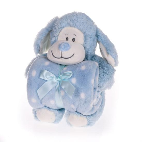 Bichinho + Manta Bebê 26Cm Ideal Para Chá De Bebê Macaco Azul - Bene Casa
