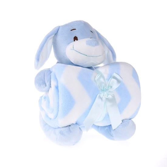 Bichinho + Manta Bebê 26Cm Perfeito Para Chá De Bebê Dog Azul - Bene Casa
