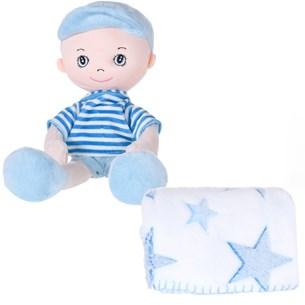 Bichinho + Manta Bebê Super Fofinhos   Ideal Para Presente Azul Bebe - Bene Casa