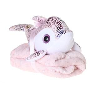 Bichinho + Manta Bebê Super Fofinhos   Ideal Para Presente Golfinho - Bene Casa