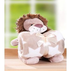 Bichinho + Manta Bebê Super Fofinhos   Ideal Para Presente Leao - Bene Casa