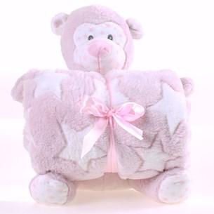 Bichinho + Manta Bebê Super Fofinhos   Ideal Para Presente Macaco - Bene Casa