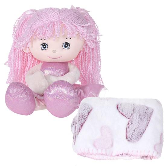 Bichinho + Manta Bebê Super Fofinhos   Ideal Para Presente Rosa Pink - Bene Casa