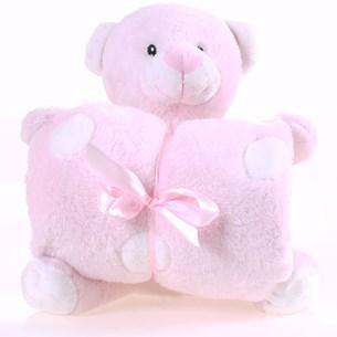 Bichinho + Manta Bebê Super Fofinhos   Ideal Para Presente Urso Rosa - Bene Casa