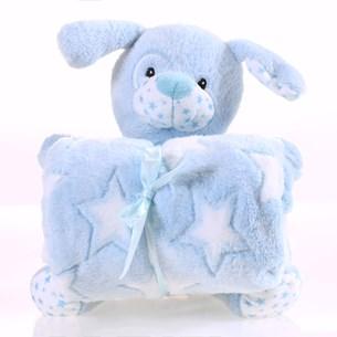 Bichinho + Manta Bebê Super Fofinhos   Ideal Para Presentes Azul - Bene Casa