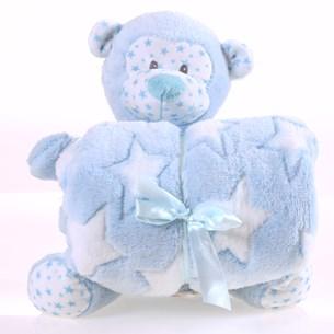 Bichinho + Manta Bebê Super Fofinhos   Ideal Para Presentes Macaco Azul - Bene Casa