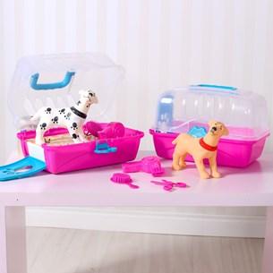 Caixinha De Transporte C/ + Cachorrinho + Secador + Escovinha + Tesourinha Little Pet Sortido - Bene Casa