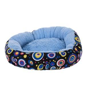 Cama Pet Para Cães E Gatos 40Cm Redonda Estampada  Azul - Meu Pet