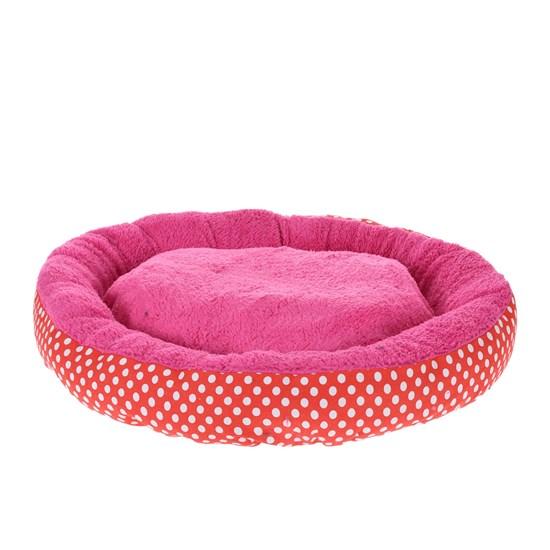Cama Pet Para Cães E Gatos 40Cm Redonda Estampada  Poa Rosa - Meu Pet