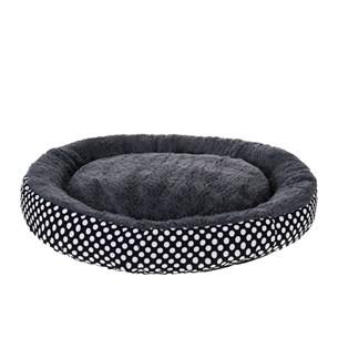 Cama Pet Para Cães E Gatos 40Cm Redonda Estampada  Preto - Meu Pet