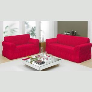 Capa De Sofá 2 E 3 Lugares Com 20 Elástico - Vermelho - Bene Casa