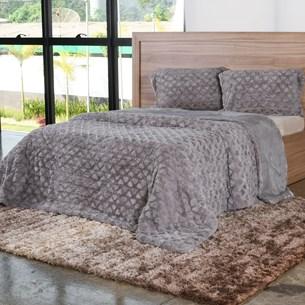 Cobertor Casal Slim Peles Com Porta Travesseiro Dove - Tessi