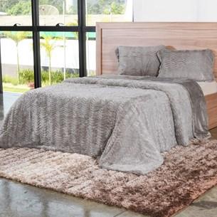 Cobertor Casal Slim Peles Com Porta Travesseiro Latte - Tessi