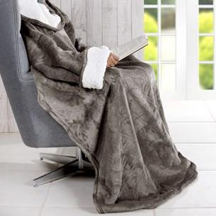 Cobertor De Tv Sherpa Com Mangas   Toque Pele De Cordeiro Cosmos - Bene Casa