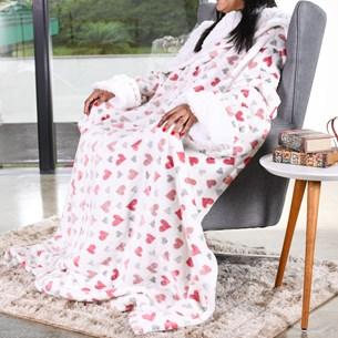 Cobertor De Tv Sherpa Com Mangas   Toque Pele De Cordeiro Hearts - Bene Casa