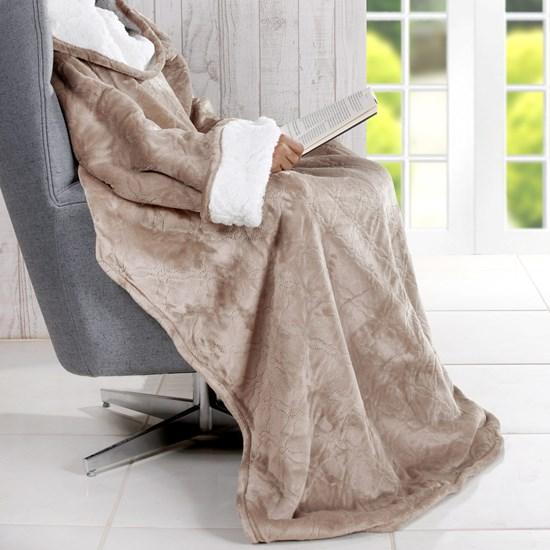 Cobertor De Tv Sherpa Com Mangas   Toque Pele De Cordeiro Taupe - Bene Casa