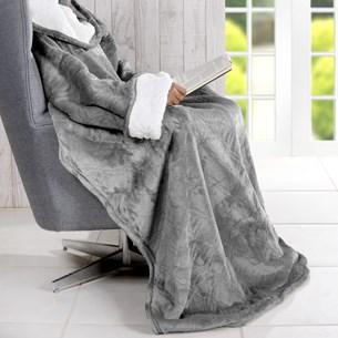 Cobertor De Tv Sherpa Com Mangas   Toque Pele De Cordeiro Urban - Bene Casa