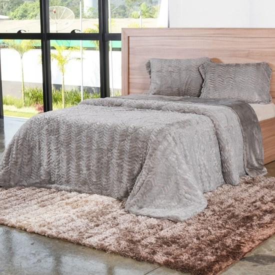 Cobertor King Slim Peles Com Porta Travesseiro Latte - Tessi