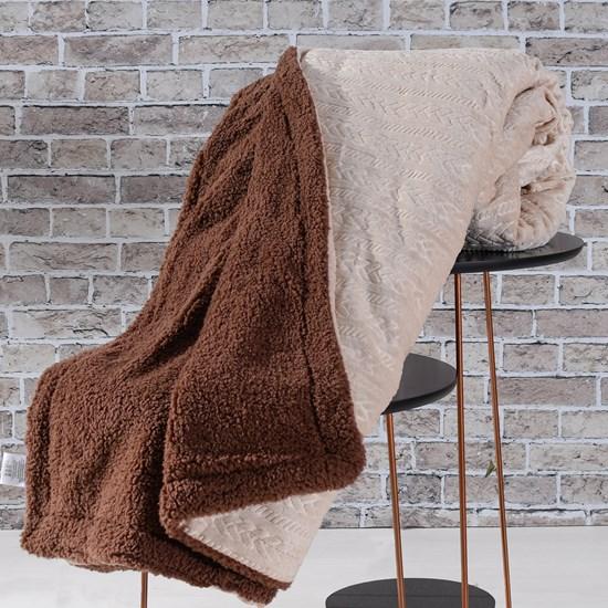 Cobertor Manta Sherpa Realce Casal Lã De Carneiro Dupla Face Areia - Bene Casa