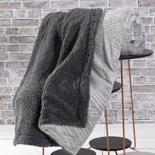 Cobertor Manta Sherpa Realce King Lã De Carneiro Dupla Face Granito - Bene Casa