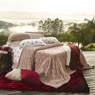 Cobertor Queen Slim Peles Dupla Face Com Porta Travesseiro Macchiato - Tessi