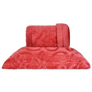 Cobertor Queen Slim Peles Dupla Face Com Porta Travesseiro Magestic Brique - Tessi