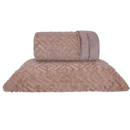 Cobertor Queen Slim Peles Dupla Face Com Porta Travesseiro Prisma Taupe - Tessi
