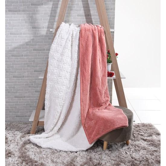 Cobertor Sherpa Solteiro Pele De Carneiro E Toque Flannel Batom - Tessi