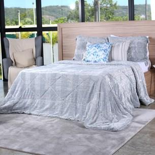 Cobertor Slim Peles Queen Com Porta Travesseiro  Grigio - Tessi