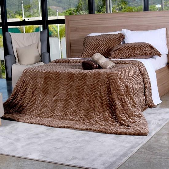 Cobertor Slim Peles Queen Com Porta Travesseiro  Xaxim - Tessi