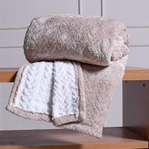 Cobertor Solteiro Sherpa Toque Lã De Carneiro Dupla Face 360G/M² Castanha - Tessi