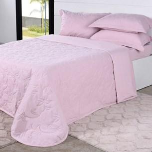 Cobre Leito Em Malha Premium Casal 145 Fios Com Porta Travesseiros Blush - Tessi