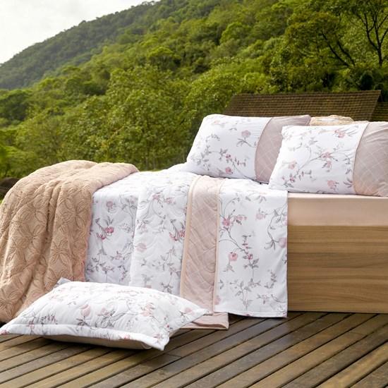 Cobre Leito Em Malha Premium King 145 Fios Com Porta Travesseiros Jasmine - Tessi