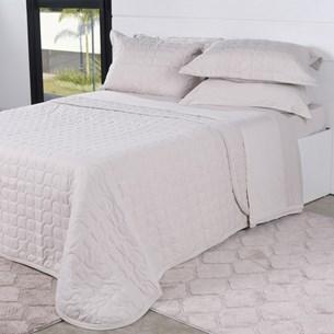 Cobre Leito Em Malha Premium King 145 Fios Com Porta Travesseiros Lenha - Tessi