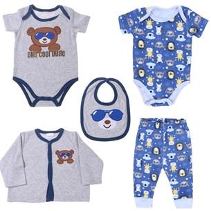 Conjunto Roupinhas Para Bebê 5 Peças 0-3 Meses   Cinza - Bene Casa